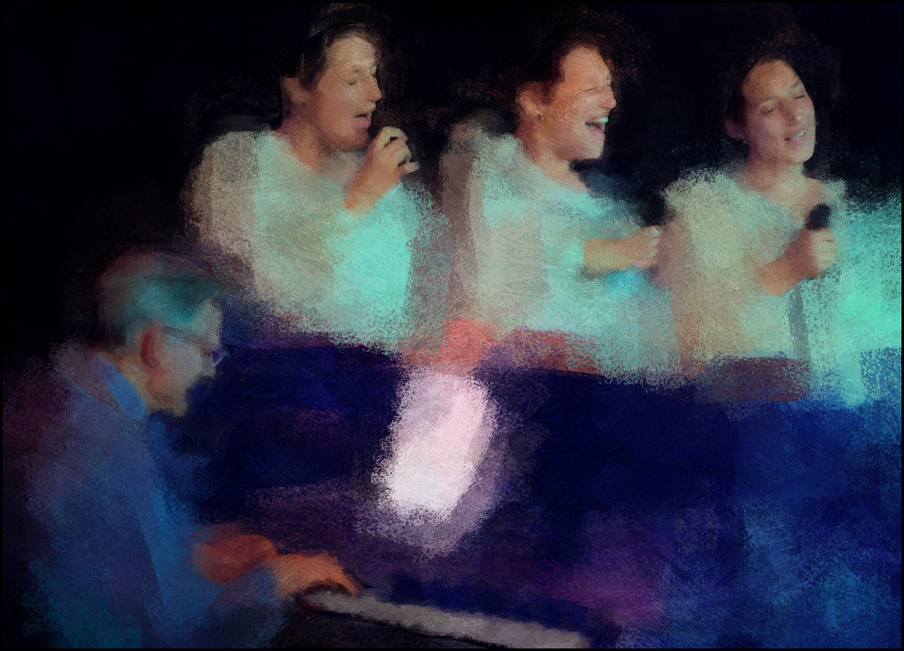 Dayyani Dynamics.<br /> Camilla Dayyani: vocal and Jørgen Emborg: Piano at CaféScenen during the Copenhagen 2012 Jazz festival.<br /> Composite Photo painted with digital impressionist chal brush in Corel Painter.