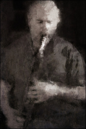 Sture Ericson: bass clarinet at Koncert Kirken, the 2013 Copenhagen Jazz Festival.<br /> Photo painted with digital graphite brush in PostworkShop + texture layer.