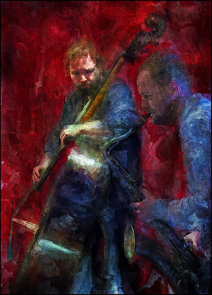 """Red Air. Tommy Andersson: bass and Gustaf Ljunggren: sax at <a href=""""http://www.jazzklubben.dk/jazzcup.asp""""target=""""_blank"""">Jazz Cup<a/>, Copenhagen. Photo painted with digital sargent watercolor brush in Corel Painter + texture layers."""