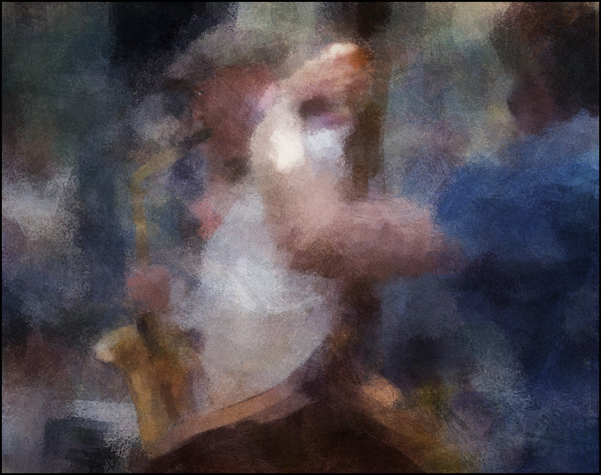 Benjamin Koppel.<br /> Playing sax at Spinderiet, Copenhagen.<br /> Photo painted with digital impressionist chalk brush in Corel Painter + texture layers.