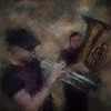 "Blow Johnny - Blow..<br /> Lakris Band: Rasmus ""Termo"" Lundsgaard: trumpet - Nikolaj Thyssen Dam: tuba  at Ingolfs Kaffebar Copenhagen.<br /> Photo painted with digital chalk brush in Corel Painter + texture layer."