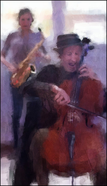 Strictly Strings.<br /> Tristan Hornsinger: cello and Maria Faust: sax at Charlottenborg, Copenhagen.<br /> Photo painted with digital impressionist chalk brush in Corel Painter + texture layers..