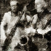 Bass Through.<br /> Jesper Bodilsen: bass and Scott Hamilton: sax at JazzCup, Copenhagen.<br /> Photo painted with digital pencil brush in Dynamic Auto Painter + texture layer.