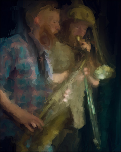 Brass in the Dark.<br /> Ned Ferm: sax and Mads Hyhme: trombone at JazzHouse, Copenhagen.<br /> Photo painted with digital  sargent brush in Corel Painter.