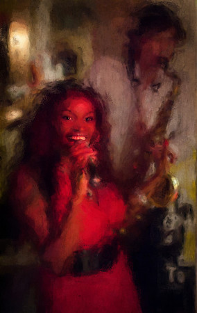 Red Hot.<br /> Yazz: vocal and Jakob Dinesen: sax at Ingolfs Kaffebar, Copenhagen.<br /> Photo painted with digital impressionist chal brush in Corel Painter + texture layers.