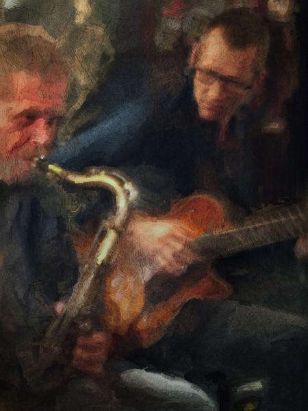 Along.<br /> Thomas Franck: sax and Tao Højgaard: guitar at Bobi Bar Copenhagen.<br /> Photo painted with digital sargent brush in Corel Painter + texture layers.