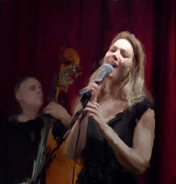 """Light to Bass.<br /> Niels Lichtenberg bass and Britt Hein vocal at """"Jazz Cup"""", Copenhagen, Denmark.<br /> Photo painted with smeary oil brush in Corel Painter."""