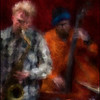 Fredrik Lundin: sax and Niels Bo Davidsen: bass at Jazz Cup, Copenhagen.<br /> Photo, painted with digital impressionist chalk brush in Corel Painter + texture layers.