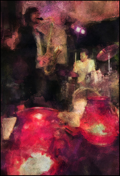 Red Light Jazz.<br /> Jakob Dinesen, sax and Laust Sonne, drums at WrayClub, Copenhagen.<br /> Photo painted with digital sargent brush in Corel Painter + texture layers.
