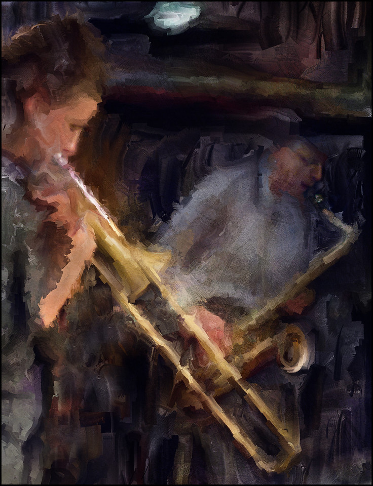 Tubes.<br /> Lis Wessberg: trombone and John Tchicai: sax at Paradise Jazz, Huset, Copenhagen.<br /> Photo painted with digital sargent brush in Corel Painter + texture layers.