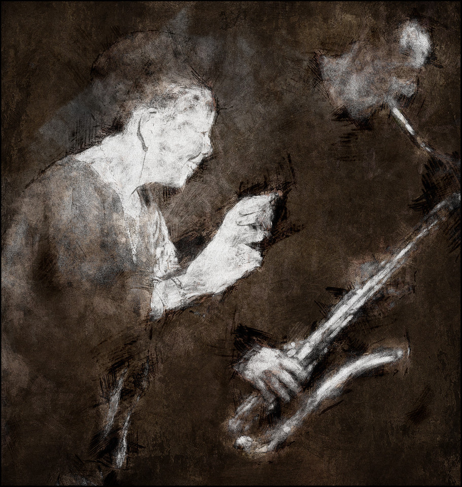 Snap Your Fingers.<br /> Lillian Boutté: vocal andThomas L´Etienne: sax at Huset, Copenhagen.<br /> Photo painted with digital graphite brush in PostworkShop + texture layers.