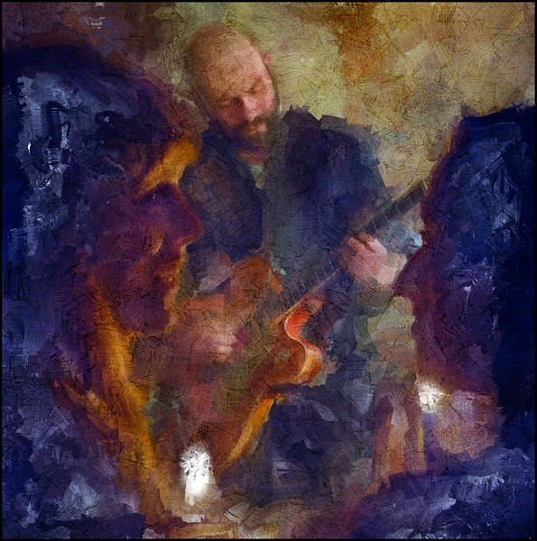 """Girls Talk. Mark Solborg: guitar at  <a href=""""http://kindofblue.dk/""""target=""""_blank"""">Kind of Blue</a>, Copenhagen. Composite photo painted with diigital sargent brush in Corel Painter + texture layers."""