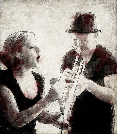 Solo on Solo.<br /> Mimi Terris: vocal and Peter Marott: trumpet at Charlie Scott´s, the 2013 Copenhagen Jazz Festival.<br /> Photo painted with digital graphite brush in PostworkShop + texture layer.