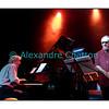 Mardi 4 décembre 2012: le pianiste François Lindemann en concert public au Studio 15 de la RTS à Lausanne avec une partie des musiciens qu'il côtoie depuis des décennies.<br /> Ici, François Lindemann et Glenn Ferris.