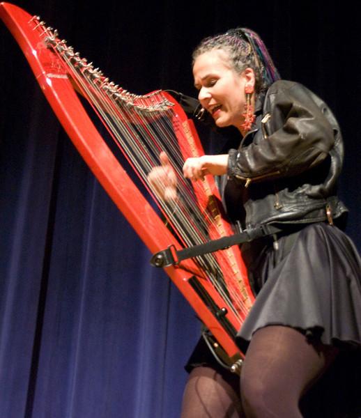 Debrah Henson Conant on the Electric Hip Harp.