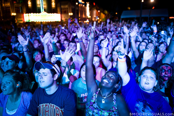 """The crowd joins Jeremy Camp in worship on September 11, 2010 during """"Rock The Universe"""" at Universal Studios in Orlando, Florida."""