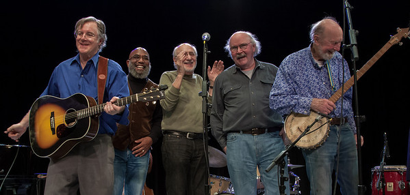 John Sebastian, Josh White Jr., Peter Yarrow, Tom Paxton and Pete Seeger.  Tarrytown Music Hall, 2012.