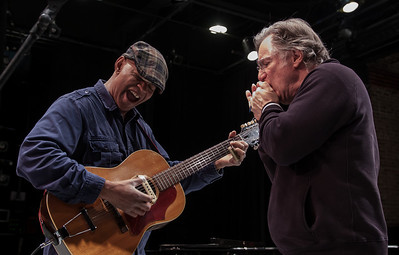Guy Davis and John Sebastian sound check.  Tarrytown Music Hall, 2012.