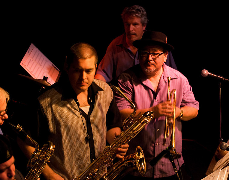 (bottom to top) Fil Lorenz, Geoff Roach, and Aaron Lington on Baritone sax, John Worley on trumpet and Paul Van Wageningen on drums<br /> John Worley and Bari Bari<br /> When Worlds Collide, Little Fox Theater, 10.18.2009