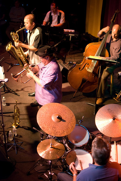 (l to r) Aaron Lington, John Worley, Murray Low and Paul Van Wageningen, drums and Tom Bockhold on bass<br /> Aaron Lington Quintet<br /> When Worlds Collide, Little Fox Theater, 10.18.2009