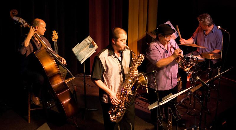 (l to r) Tom Bockhold, Aaron Lington, John Worley and Paul Van Wageningen<br /> Aaron Lington Quintet<br /> When Worlds Collide, Little Fox Theater, 10.18.2009