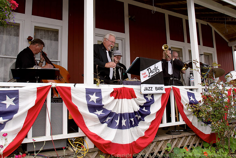 """Snapshot gallery of images from an early July 2006 visit to the beach at Seaside Oregon. Images are of the New Pacific Jazz Band at the Old Fashioned Fourth of July Social sponsored by the Seaside Historical Society at the Butterfield Cottage <a href=""""http://www.seasidemuseum.org"""">http://www.seasidemuseum.org</a> . Images were acquired as 8 megapixel RAW files and have been been batch processed and downsized to 1024 pixels for display on the web. Image Copyright © 2006 J. Andrew Towell All Rights Reserved. Please contact the copyright holder at troutstreaming@gmail.com to discuss any and all usage rights."""