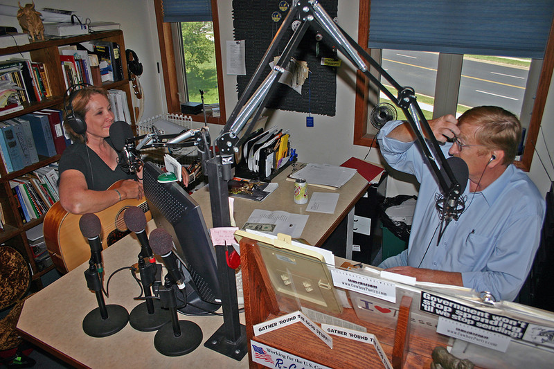 Jim Thompson interviewing Juni during her June 2007 visit to the Black Hills.