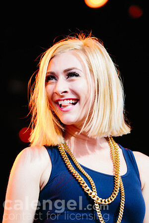 Amy Heidemann of Karmin performs live on stage at the Klipsch Music Center in Indianapolis on July 12, 2013 opening for the Jonas Brothers