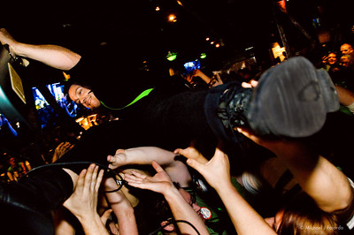 Justin Mauriello of Darling Thieves Crowd Surfing 93.3 KTCL 2011 Keggs and Eggs St. Patrick's Day Lodo's Bar and Grill Denver, CO  March 17, 2011