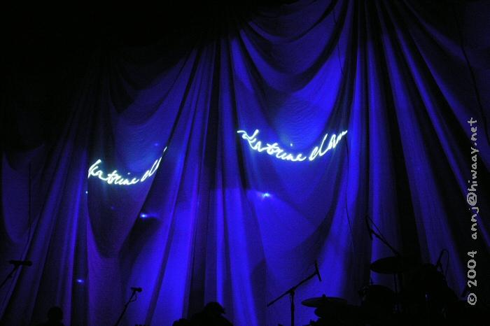 Katrina's name being projected onto the backdrop curtains.