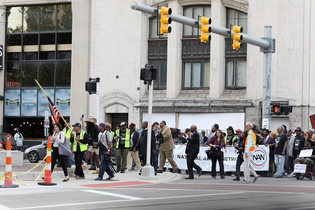 . Protesters at Detroit Kid Rock show on 9-12-17 march down Woodward Avenue.  Photo credit: Ken Settle