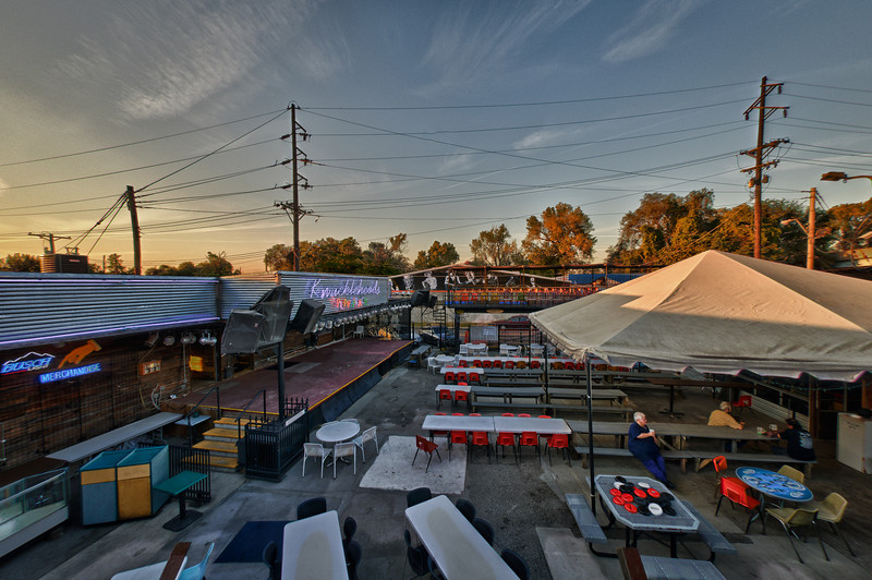 The outdoor stage from on top of the boxcar