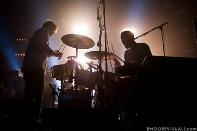 James Murphy and Pat Mahoney of LCD Soundsystem perform on October 5, 2010 at Hard Rock Live in Orlando, Florida.