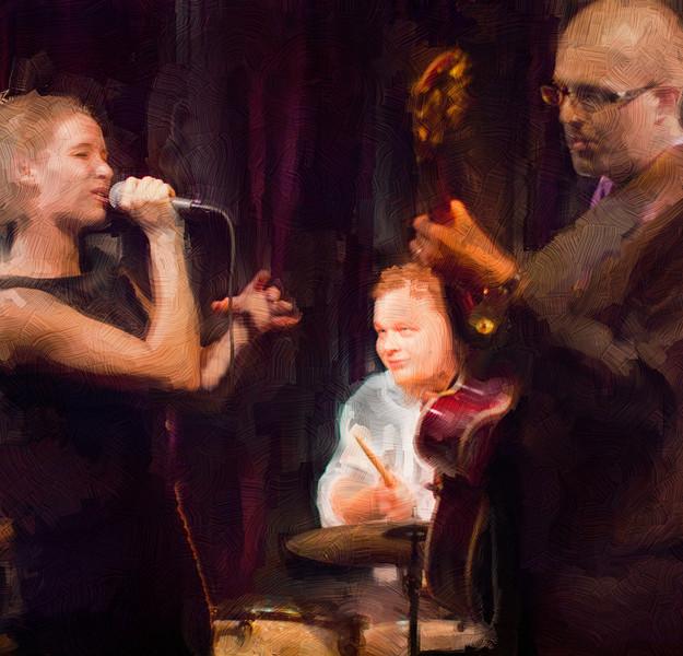"In Touch.<br /> Vocalist Alice Carreri with drummer Esben Laub von Liljenskjold and guitarist Tommy Høeg Garcia at ""La Fontaine"", Copenhagen, Denmark.<br /> Photo painted with digital sargent brush in Corel Painter + texture layers."