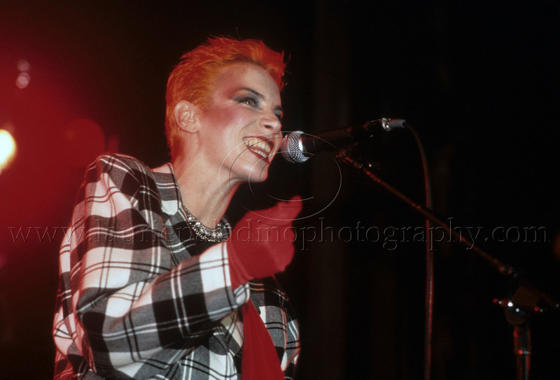 Eurythmics_lp_1984<br /> Annie Lennox of  1980s pop music group Eurythmics performs live in concert in New York City<br /> Photo ©Laurie Paladino 1984