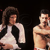 Queen_lp_1004<br /> English rock music group Queen perform live in concert at Madison Square Garden, New York City 1982. Pictured l-r guitarist Brian May and lead singer Freddie Mercury<br /> Photo ©Laurie Paladino 1982