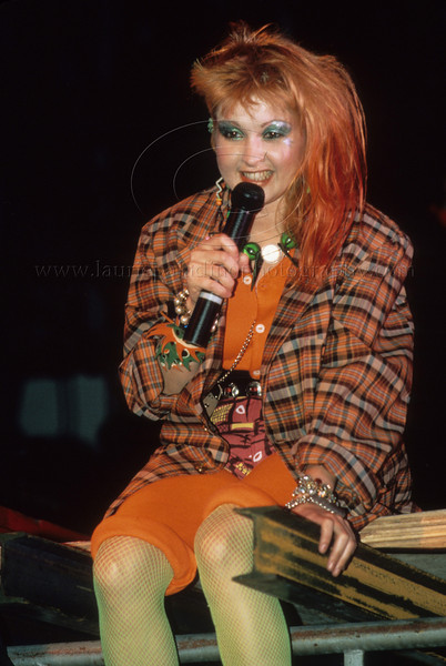 1980's female pop music singer Cyndi Lauper performs live in concert at the Dr. Pepper Music Festival on the Pier in New York City summer 1984