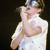 DEVO_100279<br /> <br /> Mark Mothersbaugh, lead singer of New Wave Music group DEVO performs live in concert at the Palladium in New York City 1979