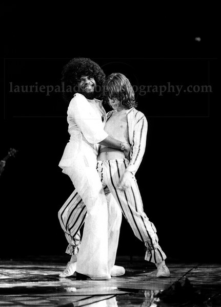 Mick Jagger, lead singer of the Rolling Stones, dances with keyboard player Billy Preston during a Rollig Stones concert performance at Madison Square Garden in New York City
