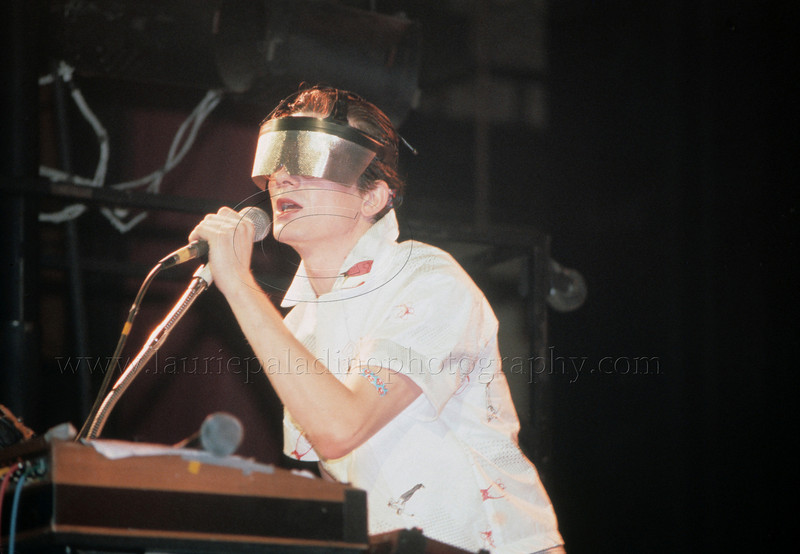 DEVO_100379<br /> <br /> Mark Mothersbaugh, lead singer of New Wave Music group DEVO performs live in concert at the Palladium in New York City 1979