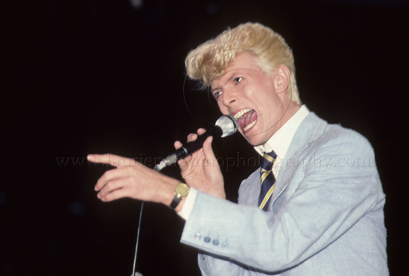 """David Bowie performs live in concert at Madison Square Garden in New York City 1983 on the """"Serious Moonlight""""  tour photographed by Laurie Paladino"""