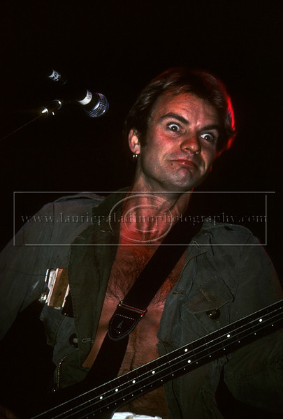 Police_lp_1002<br /> Sting, lead singer of New Wave band The Police, makes a funny face during a live concert performance to support the Police's platinum album, Synchronicity at Brendan Byrne Arena 1983