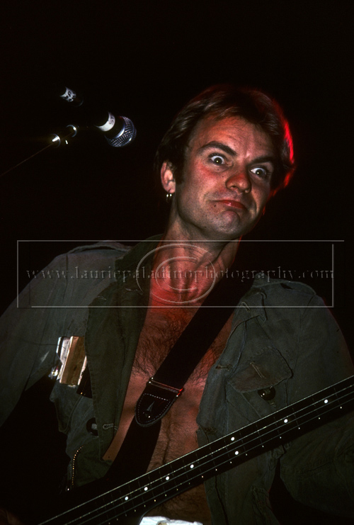 Police_lp_1002 Sting, lead singer of New Wave band The Police, makes a funny face during a live concert performance to support the Police's platinum album, Synchronicity at Brendan Byrne Arena 1983