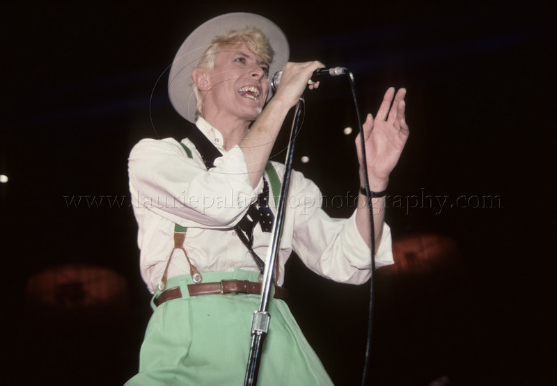 David Bowie performs live in concert at Madison Square Garden in New York City 1983 on the Serious Moonlight tour photographed by Laurie Paladino