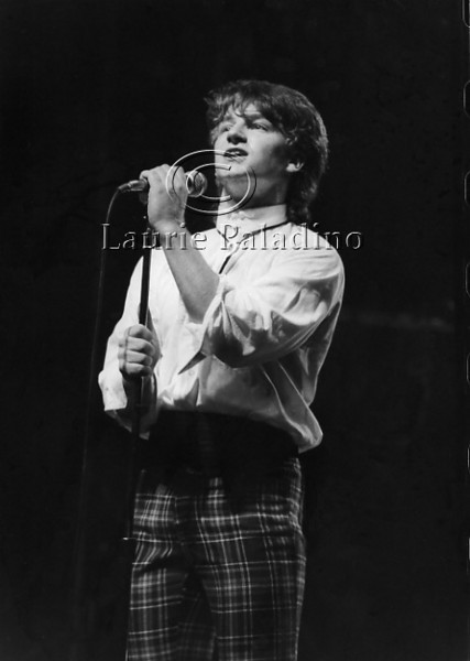 Lead singer Bono Vox of the Irish rock group U2 performs live in concert at the Palladium Theater, New York City, 1983