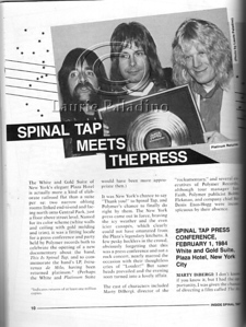 """Faux metal band Spinal Tap photographed with gold record for 1 million albums returned as published in the book """"Inside Spinal Tap"""" by Peter Occhiogrosso."""