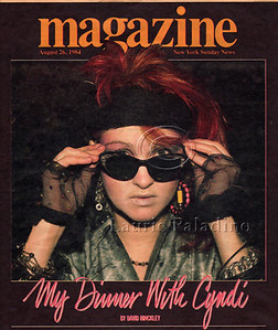 Laurie Paladino's photograph of Cyndi Lauper on the cover of the New York Sunday News Magazine