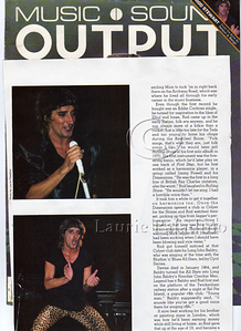 Laurie Paladino's photos of Rod Stewart in Music and Sound Output Magazine