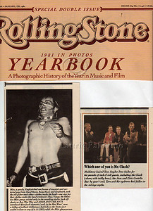 Laurie Paladino's photos of Adam Ant and The Clash in Rolling Stone Yearbook 1981