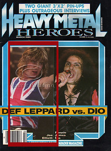 Singer Joe Elliot of British rock band Def Leppard on the cover of Heavy Metal Heroes magazine March 1986